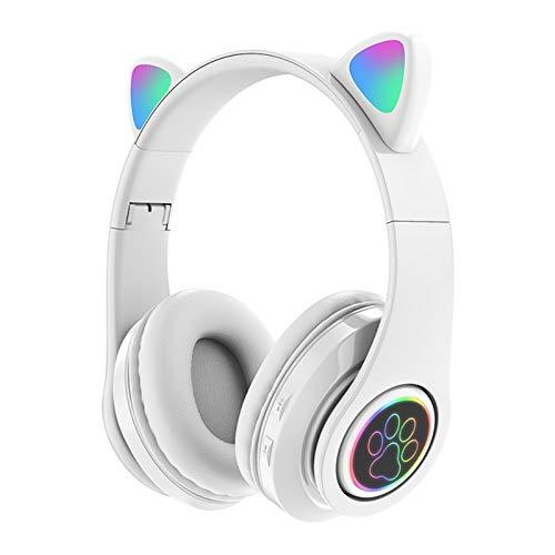 GYZLZZB Cuffie Bluetooth Over Ear, Cuffie a LED Cute Cat cuffie senza fili, Morbido Memory-Protein Aurmuffs, Pieghevole, con modalità cablata, per classe online, Home Office, PC, Telefoni cellulari, T