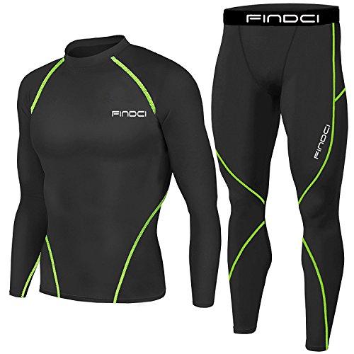 1Bests Ensemble de collants et chemises de compression pour homme - Pour la gym, le fitness, la course à pied, le yoga - Séchage rapide - Noir et vert - Taille L