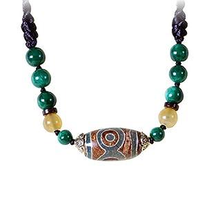 ZHIBO Damen-Halskette mit dZi-Perlen, Ethno-Stil, Achat-Halskette