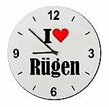 """EXKLUSIV bei uns: Glasuhr """"I Love Rügen"""" eine tolle Geschenkidee für deinen Partner, Arbeitskollegen und viele mehr! - Ostergeschenk, Ostern, Wanduhr, Uhr, Regaluhr, Geschenk, Made in GERMANY."""