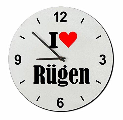 Druckerlebnis24 Glasuhr I Love Rügen eine tolle Geschenkidee die von Herzen kommt| Wanduhr| Geschenktipp: Weihnachten Jahrestag Geburtstag Lieblingsmensch