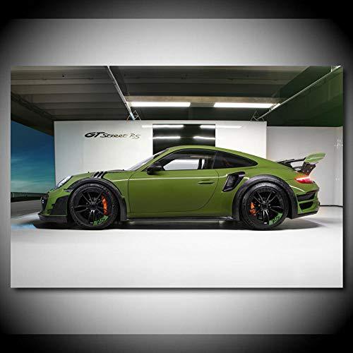 cgsmvp Porsches 911 Turbo Green Sportwagen Poster und Drucke Leinwand Malerei Moderne Wandkunst Bild Home Decorations-60x90cm-Kein Rahmen