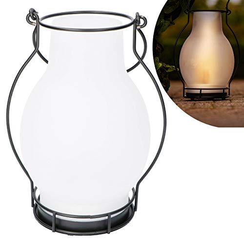 Proventa® Decoratieve LED Solar lantaarn, glas/metaal, met vlameffect, hoogte 28 cm, incl. wisselaccu, voor buiten, IP44