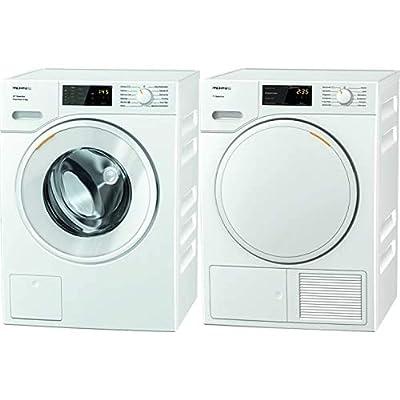 Miele WSD323 Freestanding Washing Machine with Quick Powerwash, 8 kg Load, 1400 rpm Spin, White & Miele TSB143WP Freestanding Heat Pump Tumble Dryer, 7 kg Load, White