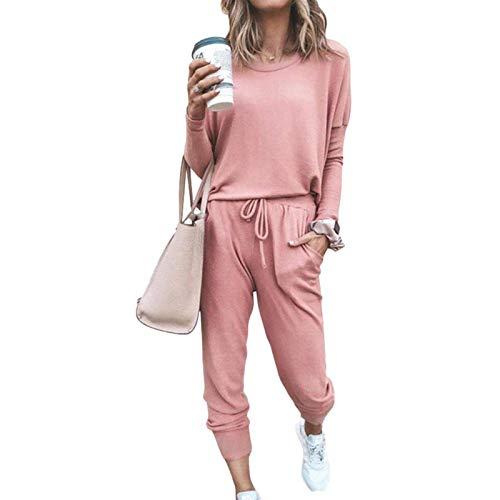 Home Wear - Chándal para mujer, monocolor, conjunto de dos piezas, manga larga, informal, cuello redondo y pantalones largos