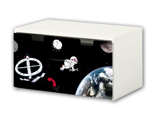 Stikkipix Weltall Möbelfolie | BT30 | Möbelaufkleber mit Weltraum-Motiv | passend für die Kinderzimmer Banktruhe STUVA von IKEA (90 x 50 cm) | Möbel Nicht Inklusive