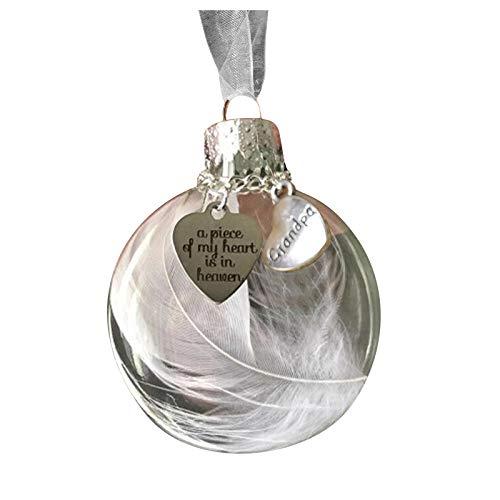 Decoración y colgado, bola de plumas – Un pedazo de mi corazón está en Heave adorno conmemorativo, para Navidad hogar y jardín, (A)