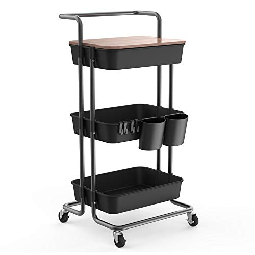 DTK 3 Tier Utility Rolling Cart with Cover Board, Rolling Storage Cart with Handle and Locking Wheels Kitchen Cart with 2 Small Baskets and 4 Hooks for Bathroom Office Balcony Living Room(Black)