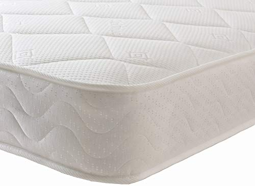 Starlight Beds Sprung Shorty Memory Foam Mattress with Deluxe Knitted Micro Quilted Fabric, Short Single, All Fire Resistant Regulated Materials, White