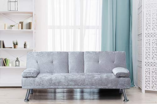 Comfy Living Italian Style Luxury Sofa Bed with Drink Cup Holder Table Crush Velvet 4 Colours (Silver)
