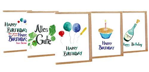 Geburtstagskarte Happy Birthday 5er Set - Handmade - 100% Recyclingpapier – Glückwunschkarten-Set mit Umschlag Geburtstag Geburtstagskarten Glückwunschkarte Grußkarte Geschenkkarte