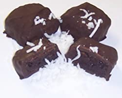 Scott's Cakes Dark Chocolate Brownie Bites with Coconut in a Blue Snowman Can