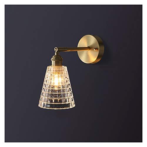 Apliques de Pared Toda la luz de cobre Luz de Lujo CRISTAL Sala de estar Lámpara de pared lámpara de noche moderna 90 ° Lámpara giratoria con tapa de cristal de alta transmitancia Aplique Ajustable