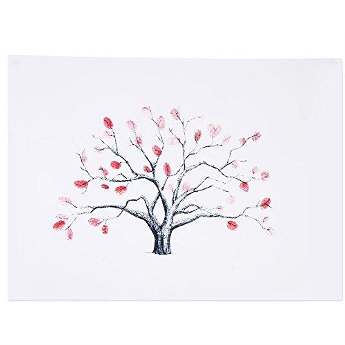 Akozon Lienzo de árbol de Huella Digital 4 Tipos Lienzo de árbol...