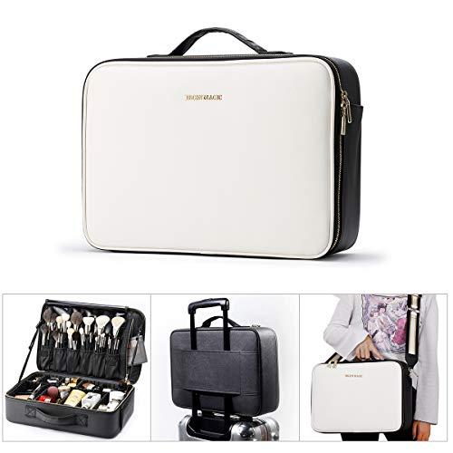 "BEGIN MAGIC 16"" Makeup Bag Organizer, Professional Makeup Train Case Organizer Cosmetic Bag Waterproof Makeup Case Travel Makeup Box with Adjustable Divider"