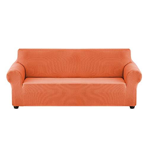 Housse De Canapé Extensible Imperméable Housse De Banc en Fibre De Polyester avec Coussin De Fond élastique en Mousse Antidérapante (Rouge-Orange,M)
