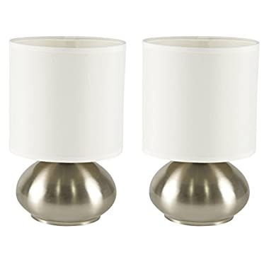 Light Accents Touch Lamps Set of 2, Bedroom Side Table Lamps Brushed Nickel (2-Pack)