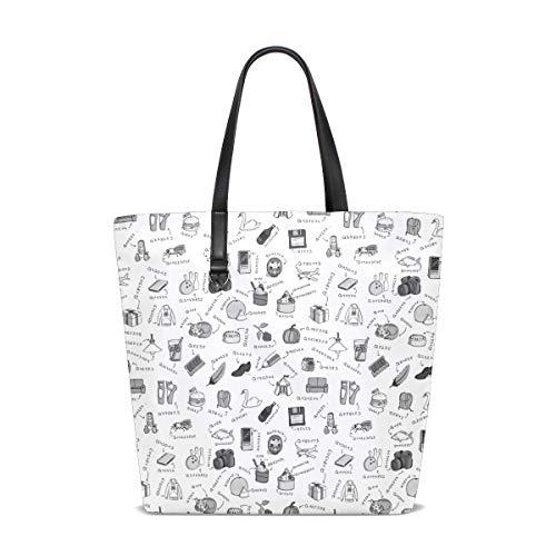 NaiiaN Handtaschen Umhängetaschen Bulldogge Einkaufstasche Süße Kleinigkeiten Briefpapier Russische Puppe Geldbörse Einkaufen Leichtgewicht Gurt für Frauen Mädchen Damen Studentin