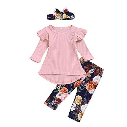 puseky Kids Peuter Baby Meisje Ruche Rib Shirt Jurk Top Bloemen Legging Broek Hoofdband Outfits Set