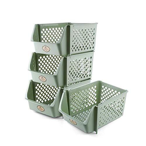 Storage Basket LHY Boîte de rangement empilable en plastique pour fruits et légumes Vert