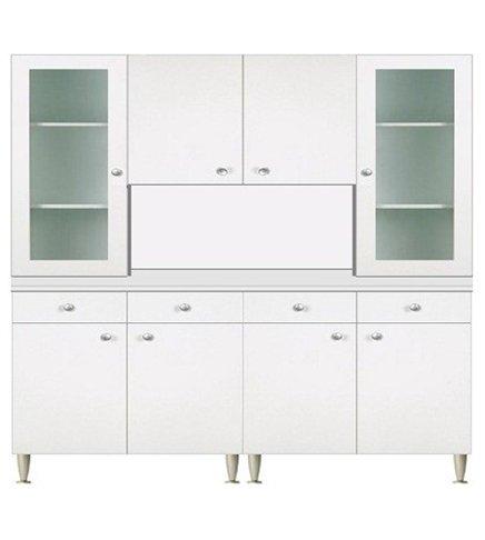 Keukenkast 160 cm met vitrine 2 deuren wit