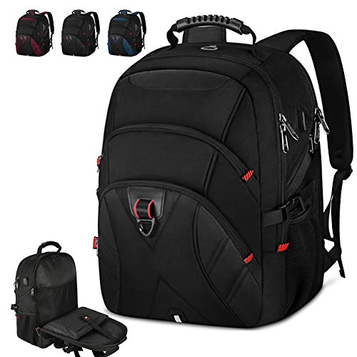 Laptop Backpack 17 Inch Extra Large Travel Backpack for Men Waterproof School College Backpack with USB Charging Port Business Computer Gaming Backpack for Men Women Black