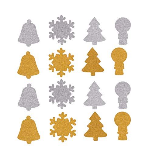NUOBESTY - 12 pegatinas de Navidad con purpurina para árbol de Navidad, pvc, Dorado+plata, 24Pcs