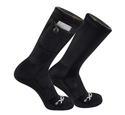 TCK Brands Stash & Dash Performance Zip Pocket Crew Socks (Black, Large)