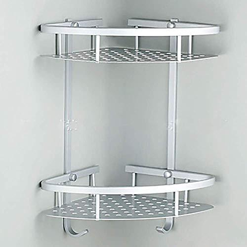 YISUNF multifuncional plataforma de baño, Hermoso baño esquina del marco 2 de capa doble espacio Triángulo Ducha cesta champú jabón cosméticos de almacenamiento en rack marco de aluminio multifunción