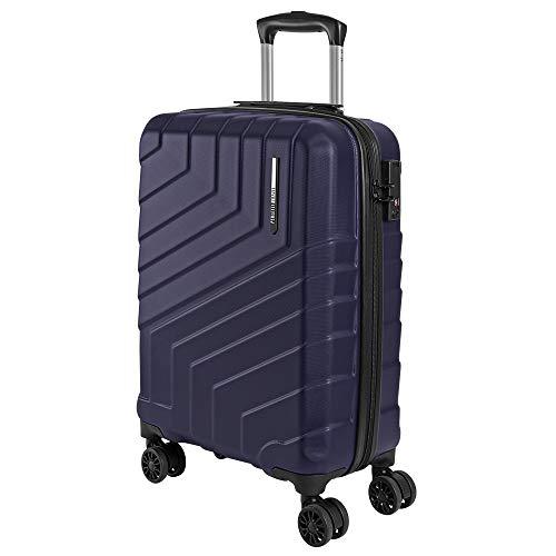 Valigia Trolley da Viaggio Rigida - Idonea Ryanair e Easyjet 55x40x20 cm 35 Litri- Bagaglio a Mano Ultra Leggero in ABS con Chiusura TSA e 4 Ruote Doppie Girevoli - Perletti Travel (Blu, S)