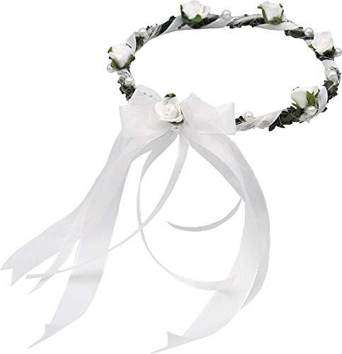 ZauberDeko Haarschmuck Haarkranz Weiß Kopfschmuck Hochzeit Kommunion Taufe Blumenkind