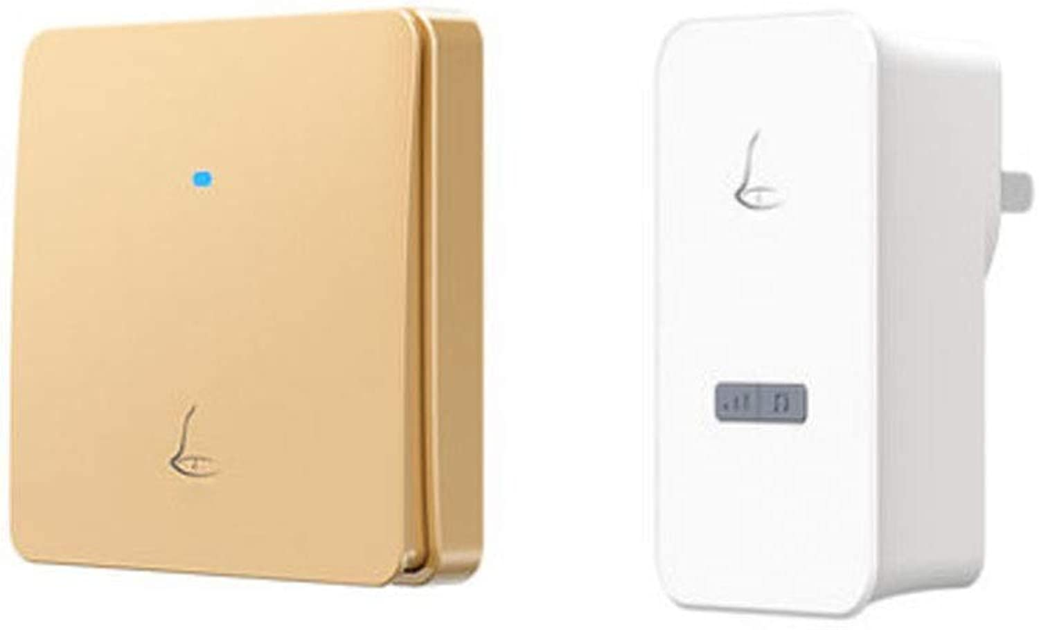 Doorbell, Wireless Selfgenerated Electricity, Comfortable PushType Doorbell, Waterproof (White, gold) (color   gold)