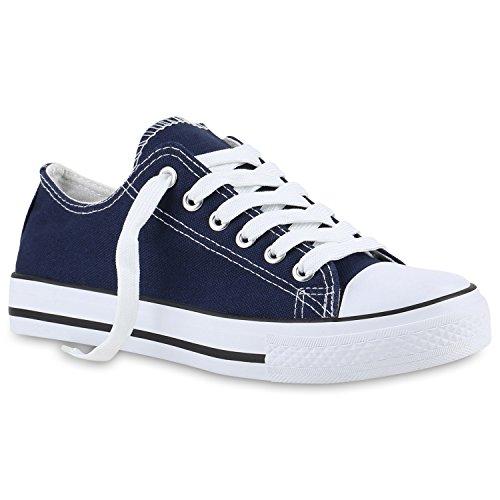 stiefelparadies Damen Sneakers Trendfarben Schnürer Sportschuhe Freizeit Schuhe 139928 Dunkelblau Blue 38 Flandell