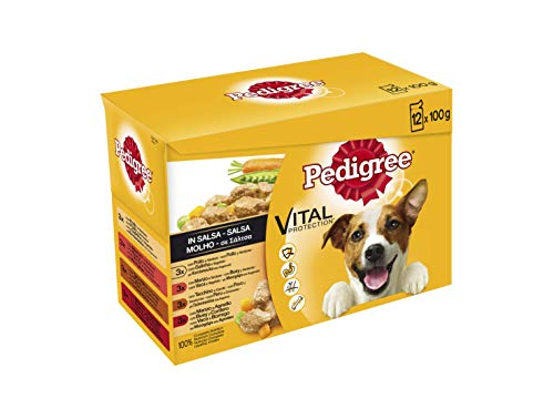 Pedigree Multipack de Comida húmeda para Perros Adultos en Salsa sabores Mixtos (12 bolsitas x 100g)