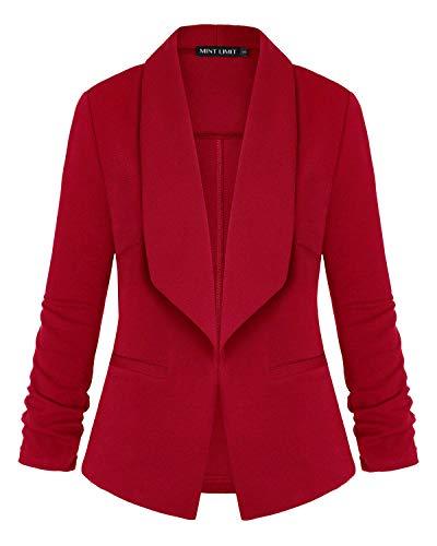 MINTLIMIT Damen Casual Arbeit Büro Vorne Offen Blazer Jacke(Rot,Größe S)