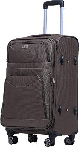BEIBYE 8009 TSA Schloß Stoff Trolley Reisekoffer Koffer Kofferset Gepäckset (Braun, XL)
