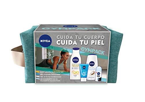 NIVEA Neceser Gimnasio Gympack, set para ella con desodorante roll on (1 x 50 ml), loción corporal (1 x 400 ml), limpiador facial (1 x 150 ml) y gel de ducha (1 x 750 ml)