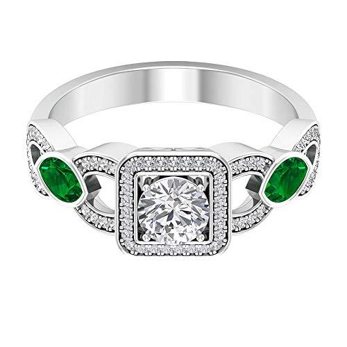 Solitärring Halo Ring 1,12 ct rund Edelstein D-VSSI Moissanit 5X3 mm diffus Smaragd Marquise-Ring Gold Split Schaft Ring Vintage Ehering, 14K Roségold, Size:EU 50
