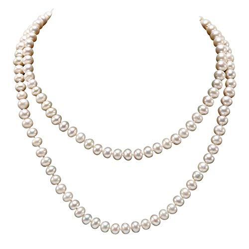JYX perlenkette lang echte perlenkette weiss 6-7 mm weiß Pearl Halskette Lange Pullover Kette 83,8 cm