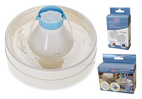 PETGARD Sparpack Trinkbrunnen Oasis Aura für Katzen und Hunde Weiss-blau + Ersatzfilter