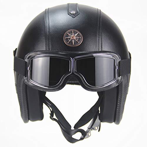 LYJNBB Casco Mezzo Motociclista, Open Face Caschi Harley Vintage con occhialini Cinturino sgancio rapido per Bike Cruiser Scooter DOT Approvato,Black,L