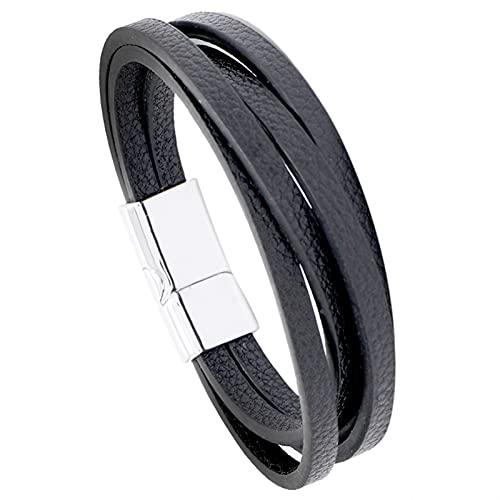 Pulsera de cuero multicapa simple con hebilla de imán de aleación negra, para hombre, decorada a mano, color blanco, 20,5 cm