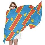 SD3DPrint Damen Schal/Schal Kinshasa Flagge von Congo Seidig 182,9 cm L x 88,9 cm W