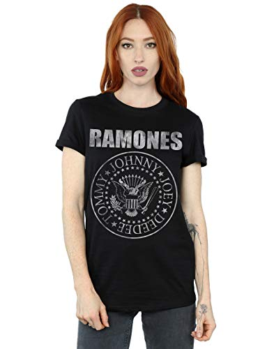 Absolute Cult Ramones Mujer Distressed Seal Camiseta del Novio Fit Negro XX-Large
