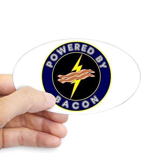 CafePress Powered by Bacon Oval Bumper Sticker, Euro Oval Car Decal