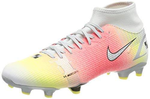 Nike Superfly 8 Academy MDS FG/MG, Zapatillas de ftbol Unisex Adulto, White White BRT Mango Mtlc Silver, 43 EU