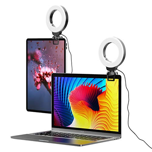 CAMOLA Video Conference Lighting Kit, 4 Inch Webcam Lighting LED Ring Light with Clip for Distance Learning,Zoom Call Lighting, Self Broadcasting and Live Streaming, Computer Laptop Video Conferencing