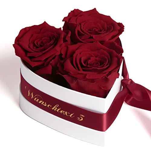ROSEMARIE SCHULZ Heidelberg Rosenbox Herzform Blumenherz mit Wunschtext personalisert 3 konservierte Rosen in Box haltbar Liebesbeweis Geschenk für Frauen (Burgundy, Wunschtext)