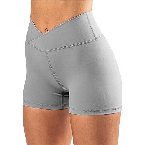 DFGH Women's High Waist Biker Shorts Cross Waist Short Yoga Pants Scrunch Yoga Shorts (S,Gray)
