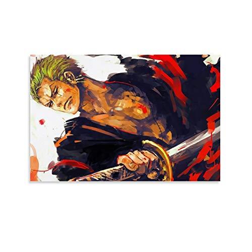 DRAGON VINES Carteles de una pieza de anime de Roronoa Zoro con tres espadas en lienzo fresco e impresiones artísticas para decoración de pared para dormitorio, sala de estar, 40 x 60 cm